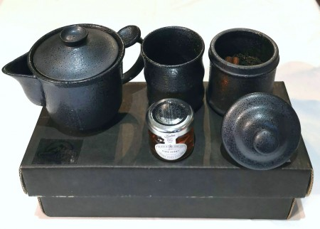 Tea set for one plus  a tin of tea