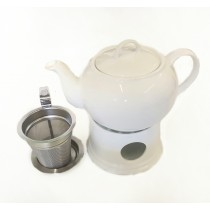 Teapot With Warmer And Stainless Steel Strainer