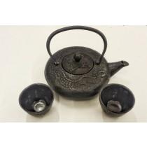 Japanese Cast Iron Teapot Set, 2 Cast Iron Cups, black