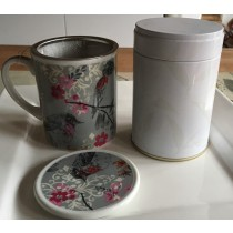 Floral Bird Design Cup With Filter, Tea Tin and Tea