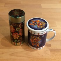 Indian Inspired Design Cup With Strainer and Floral Tin