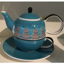 Blue Design Teapot and Tea Cup and Saucer