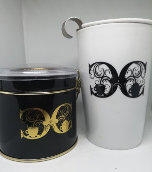 Luxury Tea set for one (100g evening tea with No caffeine , Matching design Tea tin and tea set for one)